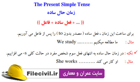 دانلود جزوه زمان ها در زبان انگلیسی
