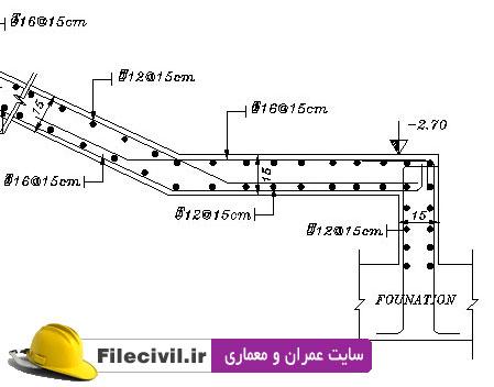 نقشه سازه ای و معماری ساختمان 7 طبقه بتنی با دیوار برشی