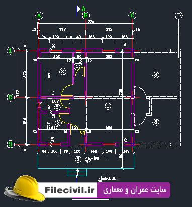 نقشه معماری و سازه ای ساختمان 1 طبقه فلزی 60 متری (7.4*7.4)