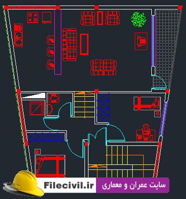نقشه معماری ساختمان ذوزنقه ای 2 طبقه 100 مترمربع