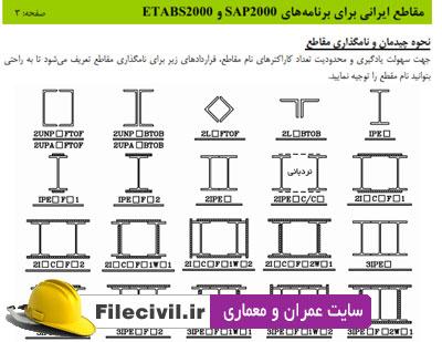 مقاطع فولادی ایرانی برای sap و etabs + راهنما